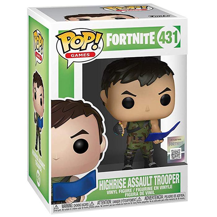 Figura Funko Pop Highrise Assault Trooper (Fortnite) en su caja
