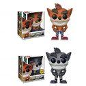 2 Uds Juego De Dibujos Animados Pop Lindo Crash Bandicoot Figura De Acción Colección De Vinilo Juguetes Modelo Muñeca para...